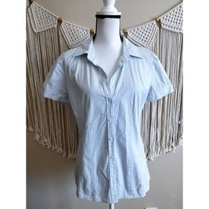 Halogen White Blue Striped Buttoned-Down Shirt L